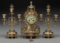Timepieces:Clocks, A Three-Piece Continental Clock Garniture, late 19th century. Marks to mechanism: TROUILLE A AMIENS, 13571, (Japy Freres... (Total: 3 Items)