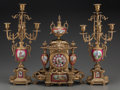 Timepieces:Clocks, A Three-Piece Royal Vienna-Style Gilt Bronze and Porcelain Clock Garniture, 20th century. Marks to clock case: BRUNFAUT ... (Total: 3 Items)
