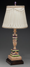 Decorative Arts, Continental:Lamps & Lighting, A Continental Majolica Lamp Base and Shade, 20th century. 24-1/4inches high (61.6 cm) (base and shade). ... (Total: 2 Items)