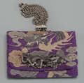 Asian:Japanese, A Japanese Embroidered Tobacco Pouch with Silver Clasp: Dragonwith Sacred Pearl, 19th century. 5-1/2 inches lon...