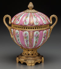 A Louis XVI-Style Porcelain and Gilt Bronze-Mounted Covered Bowl, 19th century Marks: (pseudo-Sèvres marks) 14-...