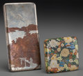 Asian:Japanese, Two Japanese Mixed Metals and Cloisonné Cigarette Cases, 20thcentury. Marks to larger: STERLING. 6-1/4 inches high(15.... (Total: 2 Items)