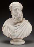Fine Art - Sculpture, European:Antique (Pre 1900), Sir John Robert Steell (British, 1804-1891). Bust of a Man.Marble. 22 inches (55.9 cm) high on a 4-1/2 inches (11.4 cm)...(Total: 2 Items)