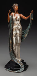 Bronze:Contemporary, An Erté Cold Painted Bronze Sculpture: La Coquette, circa1985. Marks: (artist's cipher), 374/375, JM, FINE AR...