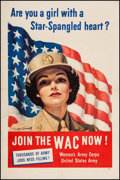 "Movie Posters:War, World War II Propaganda (U.S. Government Printing Office, 1943).WAC Recruitment Poster (25"" X 38"") ""Join the WAC Now!"" War...."