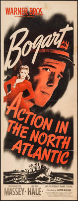 "Action in the North Atlantic (Warner Brothers, 1943). Insert (14"" X 36""). War"