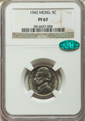 Proof Jefferson Nickels, 1942 5C Type One PR67 NGC. CAC. NGC Census: (326/12). PCGS Population: (471/22). CDN: $120 Whsle. Bid for problem-free NGC/...