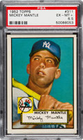 Baseball Cards:Singles (1950-1959), 1952 Topps Mickey Mantle #311 PSA EX-MT+ 6.5....