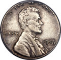 Errors, 1943 1C Lincoln Cent -- Struck on a Silver Dime Planchet -- XF40 PCGS Secure....
