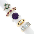 Estate Jewelry:Rings, Multi-Stone, Diamond, Platinum, Gold Rings. ... (Total: 5 Items)