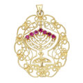 Estate Jewelry:Pendants and Lockets, Sapphire, Pink Sapphire, Gold Pendant. ...