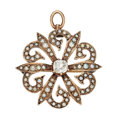 Estate Jewelry:Pendants and Lockets, Victorian Diamond, Seed Pearl, Gold Pendant-Brooch. ...