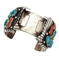 Estate Jewelry:Bracelets, Turquoise, Coral, Silver Cuff, J. Martinez. ...
