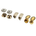 Estate Jewelry:Cufflinks, Art Deco Diamond, Enamel, Gold Cuff Links. ... (Total: 3 Items)