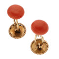 Estate Jewelry:Cufflinks, Victorian Coral, Gold Cuff Links. ... (Total: 2 Items)