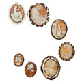 Estate Jewelry:Cameos, Shell Cameo, Gold-Filled, Base Metal Jewelry. ... (Total: 7 Items)