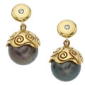 Estate Jewelry:Earrings, South Sea Cultured Pearl, Diamond, Gold Earrings. ... (Total: 2Items)