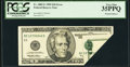 Error Notes:Foldovers, Fr. 2085-E $20 1999 Federal Reserve Note. PCGS Very Fine 35PPQ.....