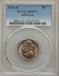 Jefferson Nickels, 1938-D 5C MS67+ PCGS. PCGS Population: (290/4 and 14/0+). NGC Census: (882/7 and 10/0+). CDN: $70 Whsle. Bid for problem-fr...