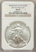 Modern Bullion Coins, 2014-W $1 Silver Eagle, Burnished, MS69 NGC. NGC Census: (2199/4917). PCGS Population (229/861)....