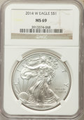 Modern Bullion Coins, 2014-W $1 Silver Eagle MS69 NGC. NGC Census: (2189/4892). PCGS Population (229/835)....
