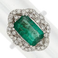 Estate Jewelry:Rings, Emerald, Diamond, White Gold Ring. ...