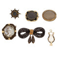 Estate Jewelry:Lots, Victorian Glass, Gold Mourning Jewelry. ... (Total: 6 Items)