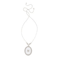 Art Deco Diamond, Frosted Rock Crystal Quartz, White Gold Necklace