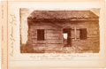 Photography:Cabinet Photos, [Abraham Lincoln]: Cabinet Card of Indiana Log Cabin....