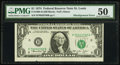 Error Notes:Shifted Third Printing, Fr. 1908-H $1 1974 Federal Reserve Note. PMG About Uncirculated 50.. ...