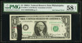 Error Notes:Ink Smears, Fr. 1901-C $1 1963A Federal Reserve Note. PMG Choice About Unc 58 EPQ.. ...