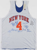 Basketball Collectibles:Uniforms, Mid 1990's New York Knicks Team Signed Practice Jersey....