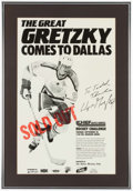 Hockey Collectibles:Photos, 1980's Wayne Gretzky Comes to Dallas Signed PromotionalBroadside....