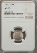 Barber Dimes: , 1900-S 10C MS63 NGC. NGC Census: (18/42). PCGS Population (26/68). Mintage: 5,168,270. Numismedia Wsl. Price for problem fr...