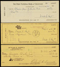 Baseball Collectibles:Others, Rick Ferrell and Waite Hoyt Signed Checks (3)....