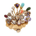 Estate Jewelry:Brooches - Pins, Multi-Stone, Diamond, Freshwater Cultured Pearl, Seed Pearl, Enamel, Gold Enhancer-Brooch. ...