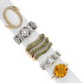 Estate Jewelry:Rings, Diamond, Citrine, Demantoid Garnet, Gold Rings. ... (Total: 5Items)
