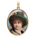 Estate Jewelry:Pendants and Lockets, Painted Portrait, Gold Pendant. ...