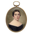 Estate Jewelry:Pendants and Lockets, Victorian Painted Portrait, Woven Hair, Gold, Base Metal Pendant....