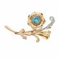 Estate Jewelry:Brooches - Pins, Retro Zircon, Diamond, Platinum-Topped Gold Brooch . ...