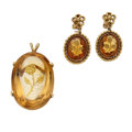 Estate Jewelry:Suites, Antique Citrine, Gold Jewelry Suite. ... (Total: 3 Items)