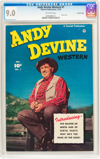 Andy Devine Western #1 Crowley Copy Pedigree (Fawcett Publications, 1950) CGC VF/NM 9.0 Off-white pages
