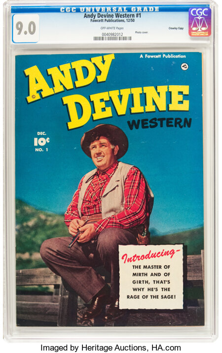Andy Devine Western #1 Crowley Copy Pedigree (Fawcett Publications, 1950) CGC VF/NM 9.0 Off-white pages....