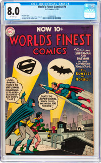 World's Finest Comics #74 (DC, 1955) CGC VF 8.0 Off-white pages