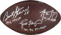 """Football Collectibles:Balls, Green Bay Packers Multi-Signed Five MVP """"The Duke"""" Football - Starr, Favre, Rodgers, Taylor, Hornung...."""