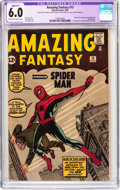 Silver Age (1956-1969):Superhero, Amazing Fantasy #15 (Marvel, 1962) CGC Apparent FN 6.0 Slight (B-1)Off-white to white pages....