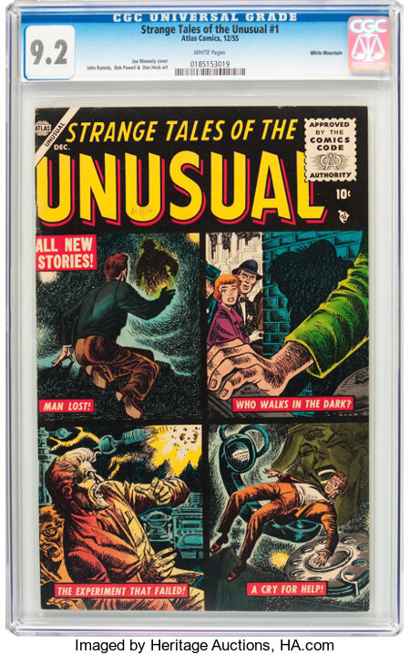 Strange Tales of the Unusual #1 White Mountain Pedigree (Atlas, 1955) CGC NM- 9.2 White pages....