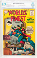 Golden Age (1938-1955):Superhero, World's Finest Comics #75 (DC, 1955) CBCS VF+ 8.5 Off-white to white pages....
