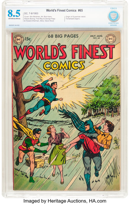 World's Finest Comics #65 (DC, 1953) CBCS VF+ 8.5 Off-white pages....