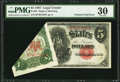 Error Notes:Large Size Errors, Fr. 85 $5 1907 Legal Tender PMG Very Fine 30.. ...